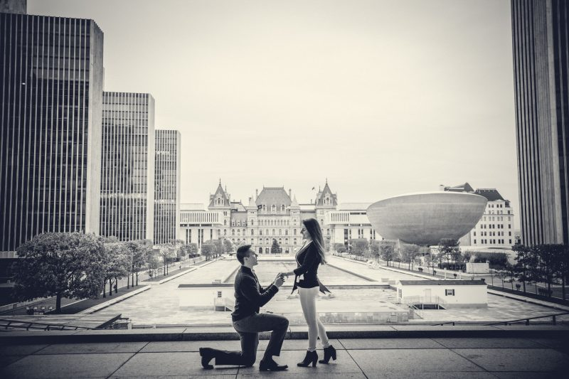 Engagement Photography in Empire State Plaza in Albany New York
